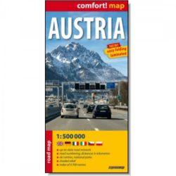 Ausztria térkép, Ausztria autótérkép Comfort laminált Cartographia 1:500 000