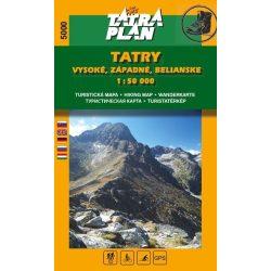 5000. Magas Tátra térkép, Bélai- Nyugati-Tátra turista térkép Tatraplan 1:50 000