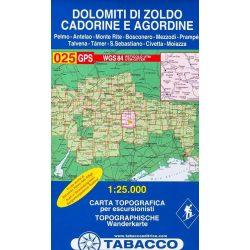 025. Dolomiti di Zoldo Cadorine e Agordine - S. Vito di Cad turista térkép Tabacco 1: 25 000