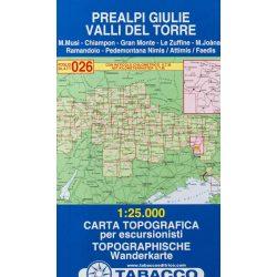 026. Prealpi Giuli - Valli del Torre turista térkép Tabacco 1: 25 000