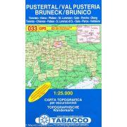 033. Brunico e dintorni, Bruneck und Umgebung turista térkép Tabacco 1: 25 000