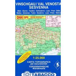 044. Val Venosta - Sesvenna, Vinschgau - Sesvenna With ski-touring routes turista térkép Tabacco 1: 25 000