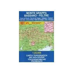 051. Monte Grappa / Bassano / Feltre turista térkép Tabacco 1: 25 000