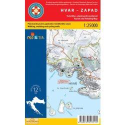 Hvar-Zapad - Hvar-nyugat térkép Hvar turista térkép Hrvatska Gorska 1:25 000