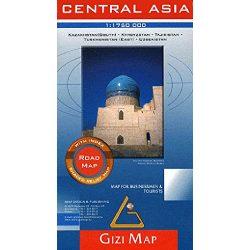 Central Asia autós térkép Gizi Map Közép-Ázsia térkép 1:1 750 000