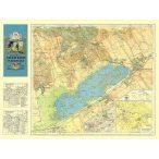 Velencei tó falitérkép antik, faximile  1929 HM