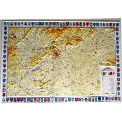 Magyarország domborzata dombortérkép címerekkel MH. 1: 500 000 117x80 cm