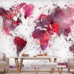 Fotótapéta - World Map: Red Watercolors