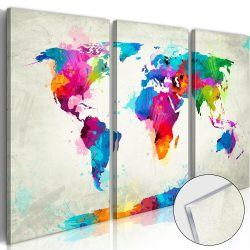 Akrilüveg kép - World Map: An Explosion of Colours [Glass]  Világtérkép 90x60
