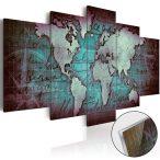 Akrilüveg kép - Acrylic prints – Bronze map II Világtérkép 200x100