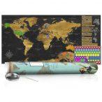 KAPARÓS TÉRKÉP - GOLDEN MAP - POSTER, Kaparós világtérkép vászonkép 100 x 50 cm angol nyelvű - zöld hengerben