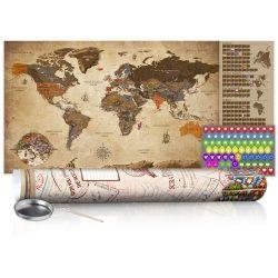 KAPARÓS TÉRKÉP - VINTAGE MAP - POSTER, Kaparós világtérkép vászonkép 100 x 50 cm angol nyelvű - krémszínű hengerben