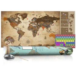 KAPARÓS TÉRKÉP - VINTAGE MAP - POSTER, Kaparós világtérkép vászonkép 100 x 50 cm angol nyelvű - zöld hengerben