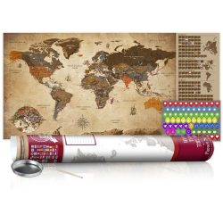KAPARÓS TÉRKÉP - VINTAGE MAP kaparós világtérkép - Lekaparható világtérkép 100 x 50  cm angol nyelvű - bordó hengerben