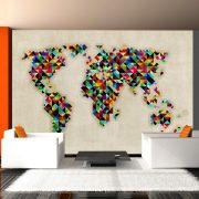 Fotótapéta térkép - World Map - a kaleidoscope of colors Világtérkép 350x270