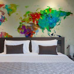 Fotótapéta térkép - Paint splashes map of the World Világtérkép 200x154