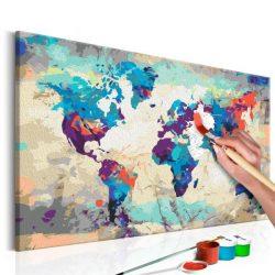 Kifestő Világtérkép, falitérkép - World Map (Blue & Red)  Kép parafán 60x40