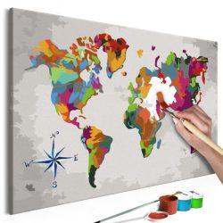 Kifestő Világtérkép, falitérkép - World Map (Compass Rose) 60x40