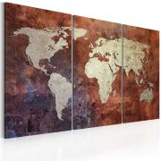 Kép - Rusty map of the World - triptych 60x40