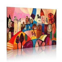 Kézzel festett kép - Colourful village