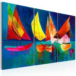 Kézzel festett kép - Colourful sailboats