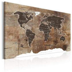Kép - World Map: Wooden Mosaic