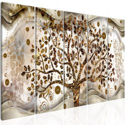Kép - Tree and Waves (5 Parts) Brown 225x90