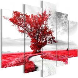 Kép - Tree near the Road (5 Parts) Red