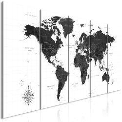 Kép - Black and White Map (5 Parts) Narrow