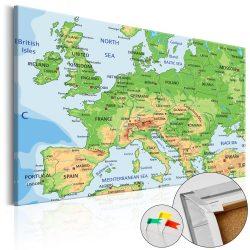 Kép parafán - Europe [Cork Map]  Parafa Európa térkép - vászonkép 60x40