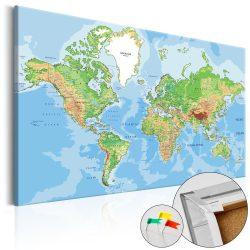 Kép parafán - World Geography [Cork Map]  Parafa világtérkép - vászonkép 60x40