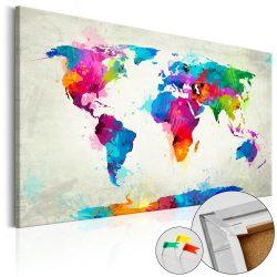 Kép parafán - An Explosion of Colors [Cork Map]  Parafa világtérkép - vászonkép 120x80