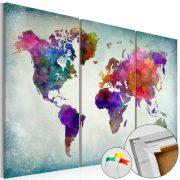 Kép parafán - World in Colors [Cork Map]  Parafa világtérkép - vászonkép 120x80