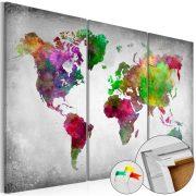 Kép parafán - Diversity of World [Cork Map]  Parafa világtérkép - vászonkép 120x80