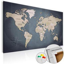 Kép parafán - Shades of Grey [Cork Map]  Parafa világtérkép - vászonkép 120x80