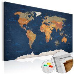 Kép parafán - Ink Oceans [Cork Map]  Parafa világtérkép - vászonkép 90x60