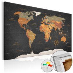 Kép parafán - Secrets of the Earth [Cork Map]  Parafa világtérkép - vászonkép 120x80
