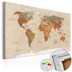 Kép parafán - Beige Chic [Cork Map]  Parafa világtérkép - vászonkép 90x60
