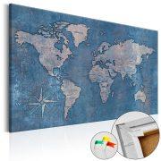Kép parafán - Sapphire Planet [Cork Map]  Parafa világtérkép - vászonkép 120x80