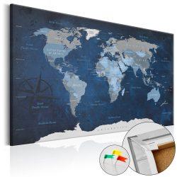 Kép parafán - Dark Blue World [Cork Map]  Parafa világtérkép - vászonkép 120x80