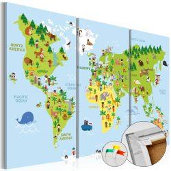 Kép parafán - Children's World [Cork Map]  Parafa világtérkép - vászonkép 120x80