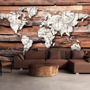 Fotótapéta térkép - Map On Wood Világtérkép 350x245
