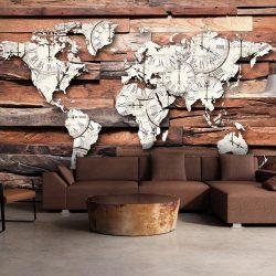 Fotótapéta térkép - Map On Wood Világtérkép 200x140