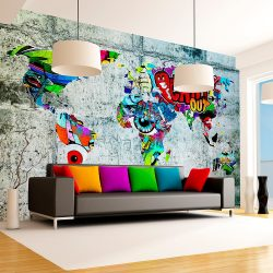 Fotótapéta térkép - Map - Graffiti Világtérkép 400x280