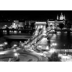 Budapest vászonkép keretre kifeszítve, éjszakai lánchíd látkép vászonkép, Budapest látkép vászon nyomat vakrámán 140x100 cm