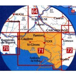 71 Saint-Gaudens - Andorra turista térkép I.G.N. 1:100 000