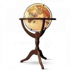 Földgömb Janine világítós álló talpas antik földgömb  50 cm (GTAV50) Világító földgömb, fa állványos földgömb