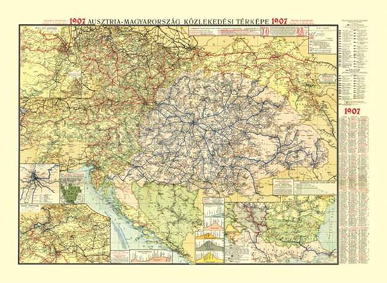 Ausztria Magyarorszag Kozlekedesi Terkepe 1907 Antik Hm Fakszimile