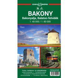 Bakony turistatérkép Szarvas A. 1:80 000,1:40 000 Bakonyalja térkép, Bakony térkép 2020