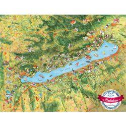Balaton falitérkép, balaton és környéke térkép, Balaton látványtérkép Civertan Grafikai Stúdió